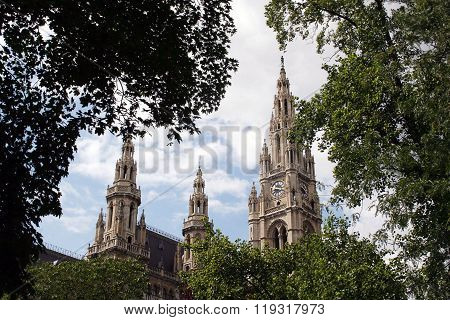 Wiener Rathaus Framed By Trees, Austria