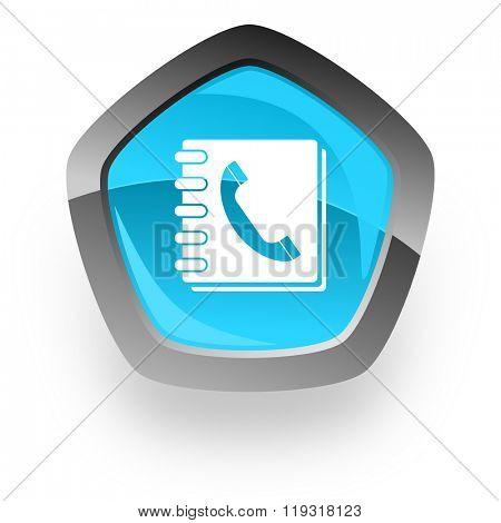 phonebook blue metallic chrome web pentagon glossy icon