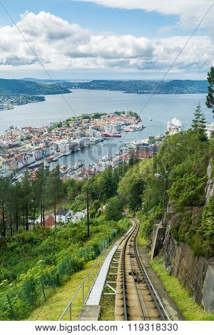 View Of Bergen City From Mount Floyen, Norway
