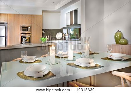 Luxurious Dining Room Table Set Up Near To The Kitchen