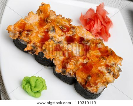 Sushi Set On Plate With Wasabi And Marinated Ginger
