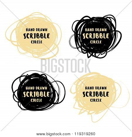 Vector hand drawn black and gold scribble logo