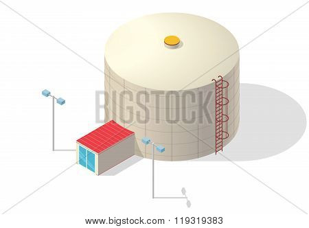 Water treatment isometric building infographic, big bacterium purifier on white background.