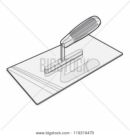 Wire nice classical pointed stucco trowel on white background.