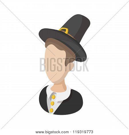 Pilgrim man cartoon icon