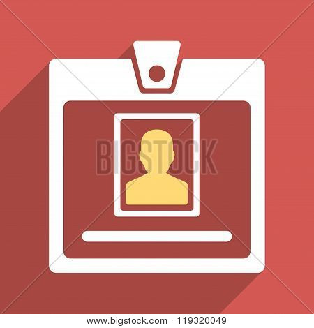 Person Badge Flat Longshadow Square Icon