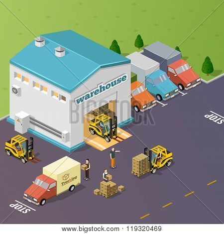 Warehouse vector illustration in the form of an isometric view