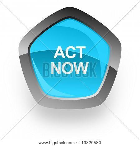 act now blue metallic chrome web pentagon glossy icon