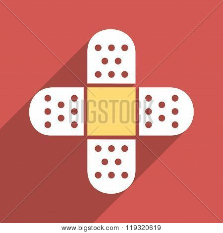 Plaster Cross Flat Longshadow Square Icon
