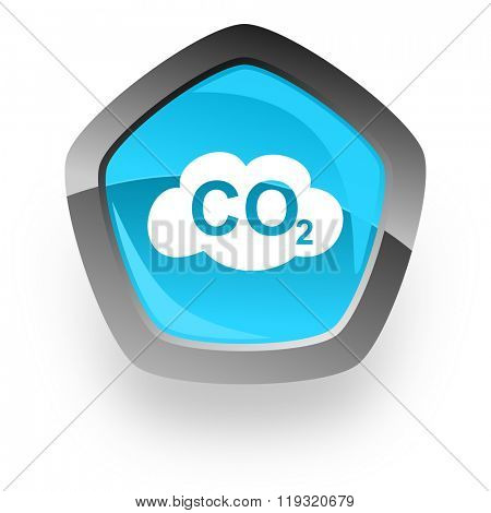 carbon dioxide blue metallic chrome web pentagon glossy icon