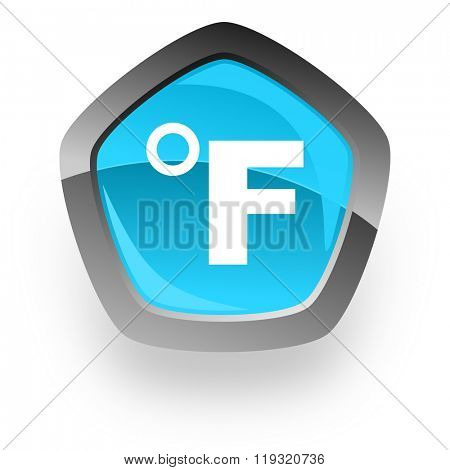 fahrenheit blue metallic chrome web pentagon glossy icon
