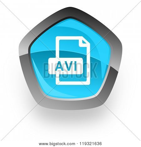 avi file blue metallic chrome web pentagon glossy icon