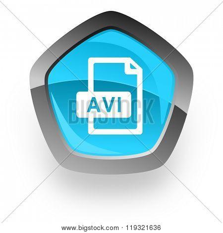 avi file blue metallic chrome web pentagon glossy icon