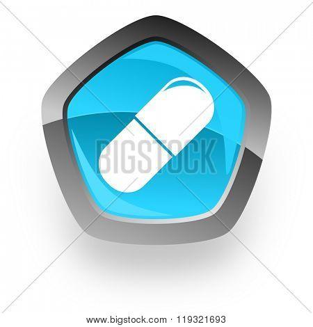 drugs blue metallic chrome web pentagon glossy icon