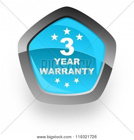 warranty guarantee 3 year blue metallic chrome web pentagon glossy icon