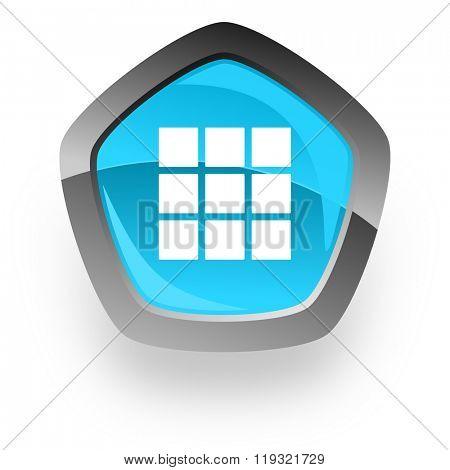 thumbnails grid blue metallic chrome web pentagon glossy icon