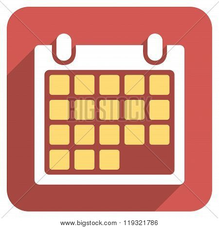 Month Calendar Flat Rounded Square Icon with Long Shadow