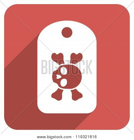 Morgue Mark Flat Rounded Square Icon with Long Shadow