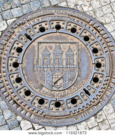 old Manhole cover in Prague