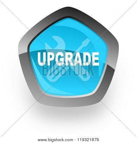 upgrade blue metallic chrome web pentagon glossy icon