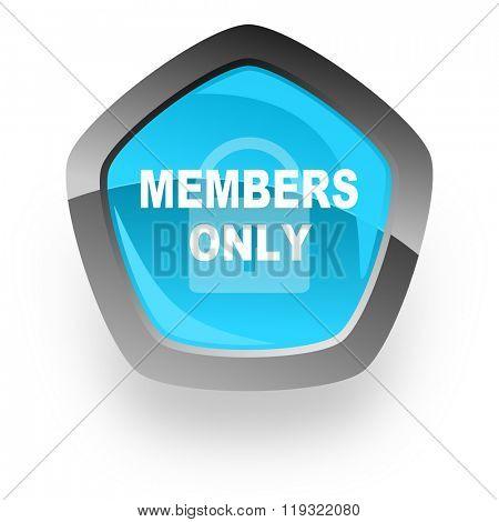 members only blue metallic chrome web pentagon glossy icon