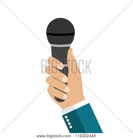 Microphone In Hands Of Man.