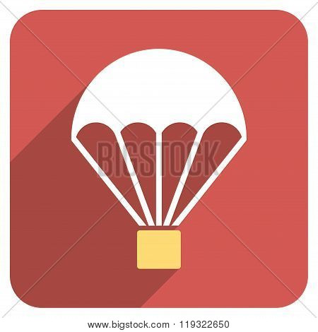 Parachute Flat Rounded Square Icon with Long Shadow
