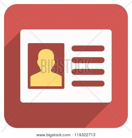 Patient Account Flat Rounded Square Icon with Long Shadow