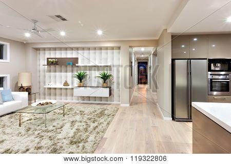 Interior Of The Luxurious House With Light Illumination At Night