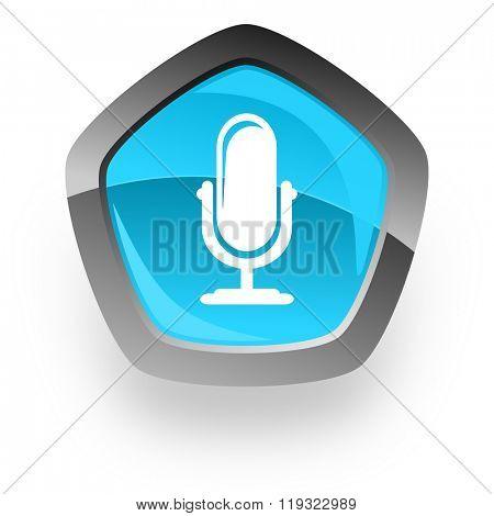 microphone blue metallic chrome web pentagon glossy icon