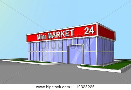 Mini Market Shop Facade Retail Trade 24 Hours Front View