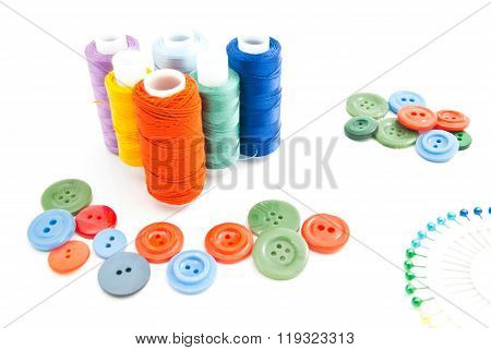 Thread, Pins And Plastic Buttons