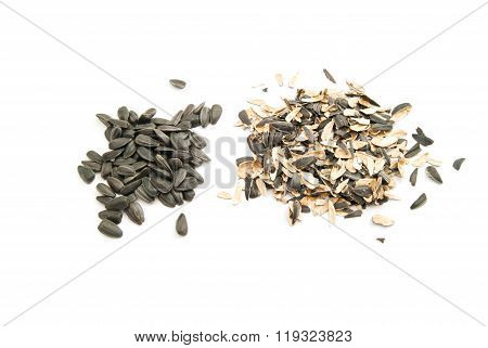 Sunflower Seeds And Husk On White