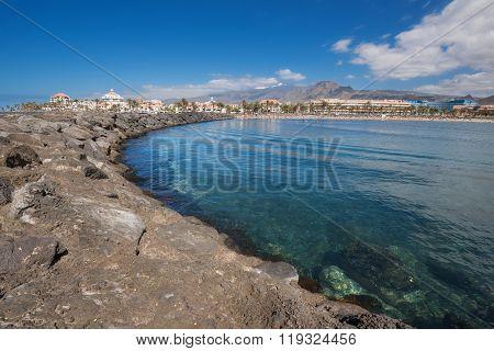 Las Americas coastline in Adeje Tenerife Spain.