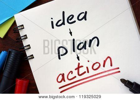 Idea, plan, action concept  written in a notebook.