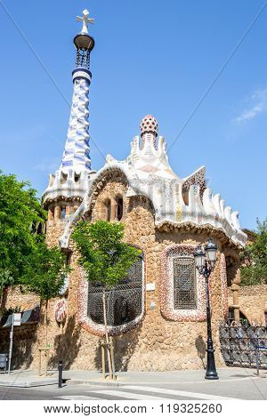 BARCELONA, SPAIN - JUNE 11: Parc Guell park in Barcelona Spain on June 11, 2014. It was designed by Antoni Gaudi Barcelona, Spain.