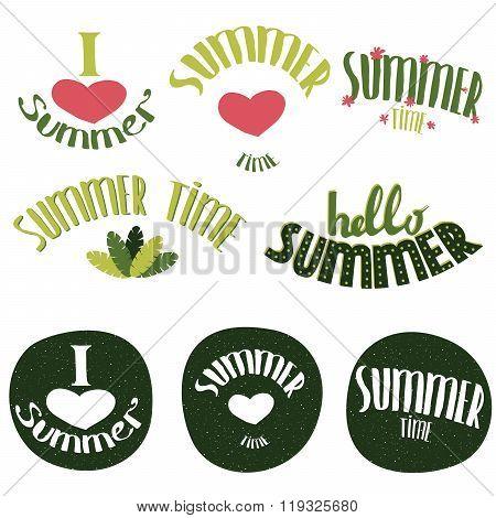 Set Of Summer Lettering