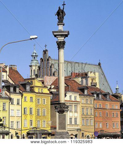 Sigismund Column In The Old Town In Warsaw, Poland.