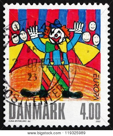 DENMARK - CIRCA 2002: a stamp printed in Denmark shows Clown, Winning Drawing in Children's Stamp Design Contest, circa 2002