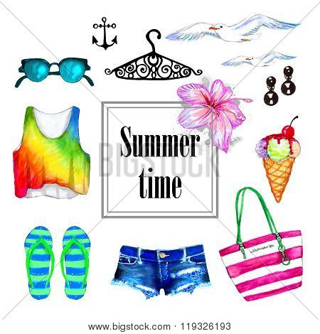 Summer Outfit Watercolor Set
