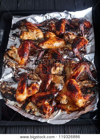 Hot spicy bbq honey chicken wings