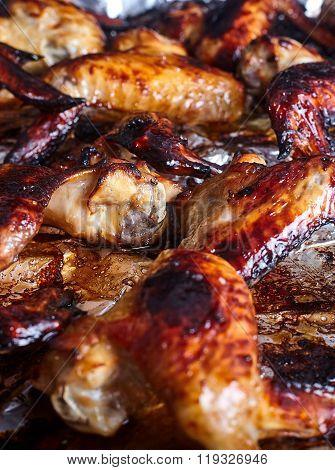 Hot spicy bbq honey chicken wings