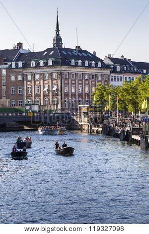 Copenhagen, Denmark - September 8: Unknown Tourists Touring The Old Canal In Copenhagen, Denmark On