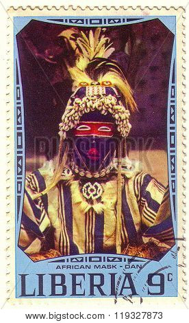 Liberia - Circa 1977: A Stamp Printed In Liberia Shows African National Ritual Mask (dan), Circa 197