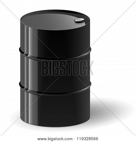 Black oil barrel vector illustration.