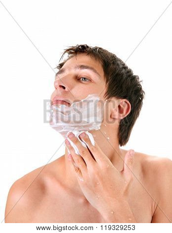 Young Man With Shaving Cream