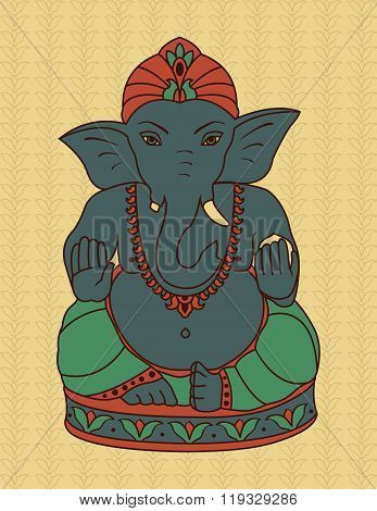 Blue Ganesha On Beige.