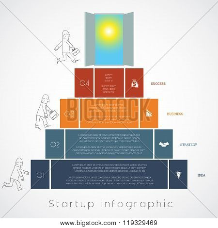 Infographics Businessman Steps Up Ladders Template Four Positions