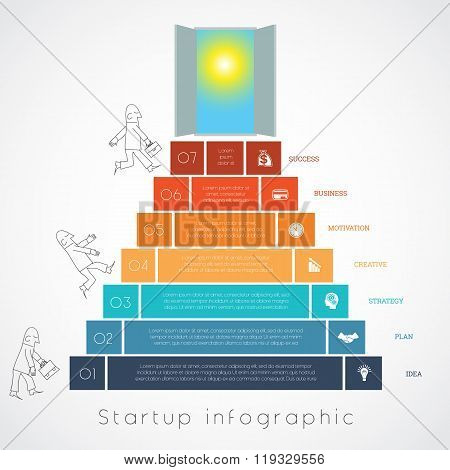 Infographics Businessman Steps Up Ladders Template Seven Positions