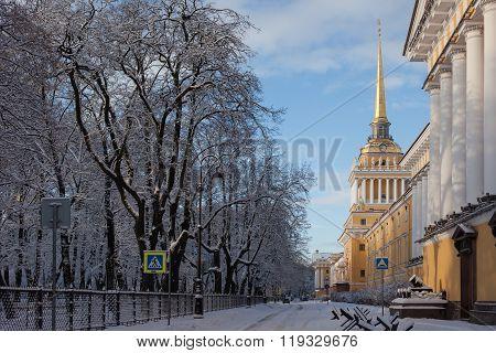 Admiralty in winter, Russia. St. Petersburg.